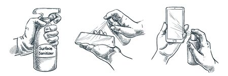 Gadget surface cleaning, sanitation, disinfection. Vector hand drawn sketch illustration. People treat smartphones with antibacterial spray sanitizer. Phones disinfection is coronavirus protection
