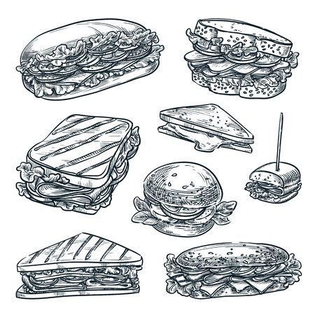 Homemade sandwiches set, isolated on white background. Fast food snacks vector sketch illustration. Multigrain bread with cheese, ham and tomato. Cafe lunch menu hand drawn vintage design elements Ilustración de vector