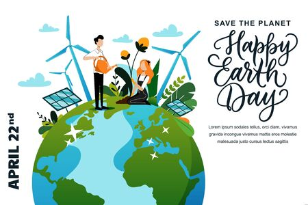 Happy Earth Day banner or poster design template. Vector flat cartoon characters illustration and hand drawn header calligraphy lettering. People plant, water and care for plants and flowers. Vettoriali