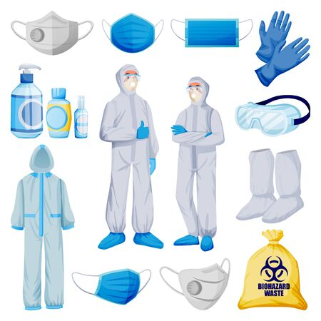 Medical personal protective equipment from viral infection, pollution. Vector illustration of protection clothes, isolated on white background. Face mask, respirator, gloves, uniform, sanitizer icons