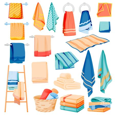 Bathroom and kitchen cotton towels collection. Vector flat cartoon illustration of bath and spa toiletries. Textile hygiene items, isolated on white background. Household clean fabric set Vektorgrafik