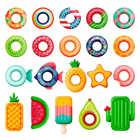 Pool inflatable rings and mattress set. Boys, girls floating funny toys. Vector illustration. Summer beach kids leisure elements. Fish, donut, USA flag, cactus, watermelon isolated on white