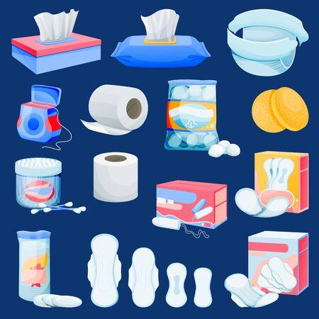 Set di forniture per l'igiene personale. Piatto del fumetto vettoriale di integratori igienici e articoli da toeletta. Prodotti per la pulizia della bellezza del viso delle donne. I bambini si prendono cura delle icone sanitarie e degli elementi di design.