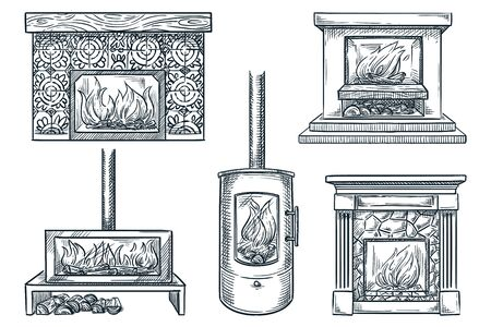 Fireplaces set, isolated on white background. Hand drawn vector sketch illustration. House interior vintage design elements. Old and contemporary home chimneys collection Ilustração