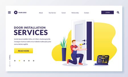 Door repair and installation service. Handyman makes door lock repair works with screwdriver. Vector flat cartoon character worker illustration. Home maintenance services concept
