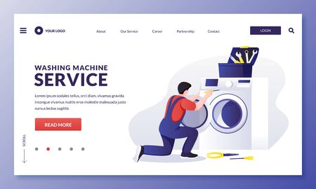 Washing machine repair service. Mechanic worker fixing laundry electrical equipment. Vector flat cartoon character repairman illustration. Home maintenance services concept