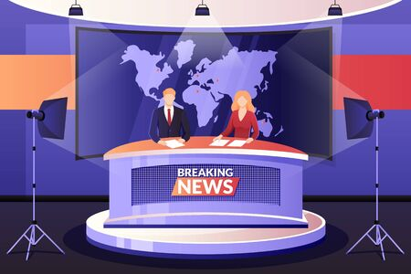 TV breaking news broadcasting, vector illustration. Man and woman media broadcasters talking in television studio. Professional anchormen characters. Live events, interview and entertainment concept.