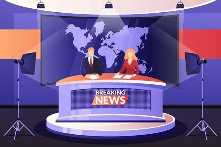 TV-Nachrichtensendung, Vektor-Illustration. Mann und Frau Mediensender sprechen im Fernsehstudio. Professionelle Anchormen-Charaktere. Live-Events, Interview- und Unterhaltungskonzept.