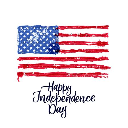 Happy 4th of July, USA Independence Day. Hand drawn calligraphy lettering and american watercolor flag. Vector national holiday patriotic illustration for prints, banner, poster, greeting cards design Vektoros illusztráció