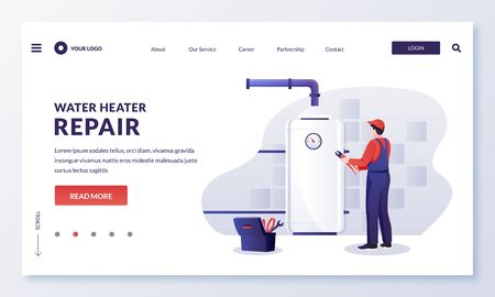 Plumber worker repairs or install water heater or boiler. Handyman makes house repair works. Vector flat cartoon character illustration. Home repair, maintenance and plumbing services concept