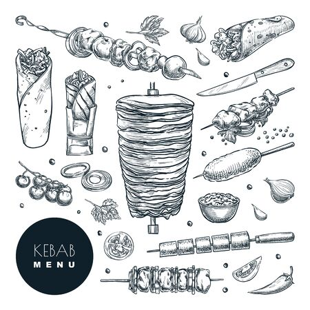 Fresh and tasty arabic doner kebab set. Vector hand drawn sketch illustration, isolated on white background. Beef, lamb and chicken barbecue meat, turkish restaurant vintage design elements