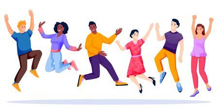Skoki i taniec wieloetnicznego zespołu szczęśliwych ludzi. Azjatycki, afrykański, kaukaski młodzi beztroscy mężczyźni i kobiety, na białym tle. Ilustracja wektorowa płaskie kreskówka nastolatek znaków