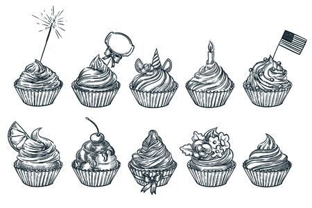 Cupcake, muffin dessert set, isolated on white background. Sketch vector food illustration. Sweet party cakes with cream, chocolate, cherry, unicorn, lemon and usa flag. Hand drawn design elements