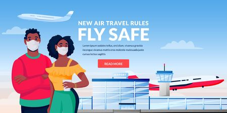Air travel new rules, healthy and safe flight concept. African man and woman in medical protection masks at airport terminal. Vector illustration of traveling hispanic couple characters. Vectores