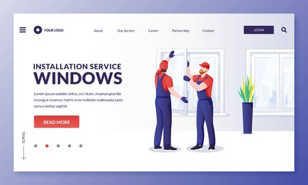 Plastic window repair and installation service. Handymen replace old windows to new ones. Vector flat cartoon character worker illustration. Home maintenance services and improvement concept Иллюстрация