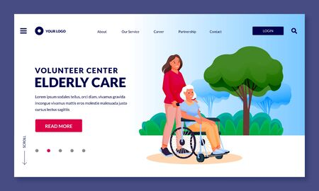 Young girl volunteer or social worker carries elderly disabled woman in wheelchair. Vector flat cartoon characters illustration. Taking care of seniors people and healthcare occupation concept