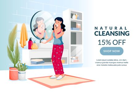 Beauty, skin care, morning routine concept. Young woman washes face with cleansing gel. Vector flat cartoon character illustration. Girl using cosmetics soap foam and looking in mirror