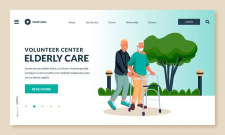 Young guy volunteer or social worker carries elderly disabled man in walkers. Vector flat cartoon characters illustration. Taking care of seniors people and healthcare occupation concept