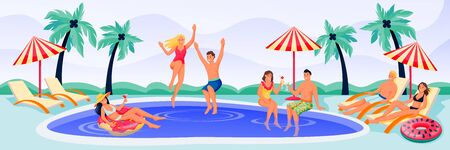 Young happy people on summer pool party. Vector flat cartoon characters illustration. Men and women in bikini and swimwear have a fun vacation by the swimming pool Çizim
