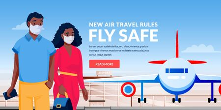 Hispanic man and woman in medical protection masks at airport terminal. Vector illustration of traveling couple characters. Air travel new rules, healthy and safe flight concept