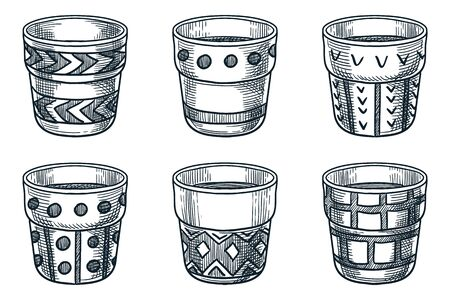 Empty flower ceramic pots set, isolated on white background. Vector hand drawn sketch illustration. Plants containers or clay vases collection. Gardening and planting icons