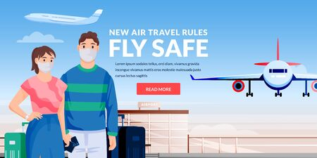 Vector illustration of traveling caucasian couple characters. Air travel new rules, healthy and safe flight concept. Young man and woman in medical protection masks at airport terminal.