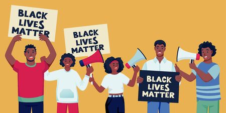 African american protesting people with posters, loudspeakers. Black lives matter, protest and fight for rights concept. Vector flat cartoon characters illustration of political activists, protesters Illusztráció