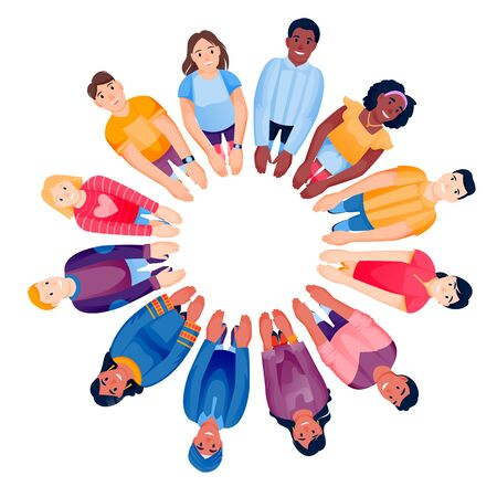 Multiethnic people team standing in circle together, holding hands. Top view vector illustration. Diversity social community, collaboration, teamwork concept. Flat cartoon men and women characters