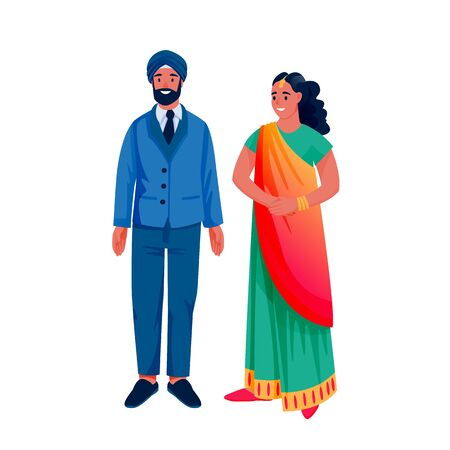Indian young happy couple in traditional clothing, isolated on white background. Indian woman in colorful beautiful sari and man in suit and turban. Vector flat cartoon characters illustration.