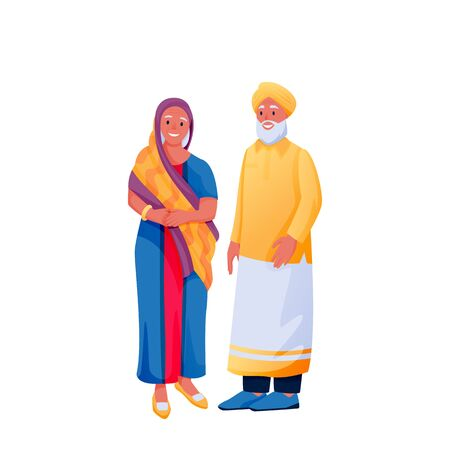 Indian senior happy couple in traditional clothing, isolated on white background. Indian woman in colorful beautiful sari and man in shirt and turban. Vector flat cartoon characters illustration