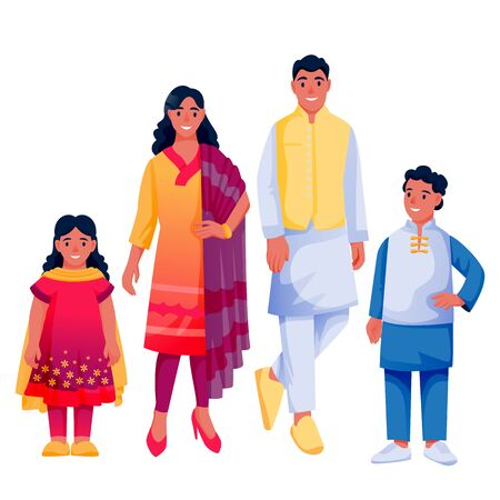 Indian happy family with two kids, isolated on white background. Father, mother, boy and girl in colorful traditional clothing. Vector flat cartoon characters illustration Illusztráció
