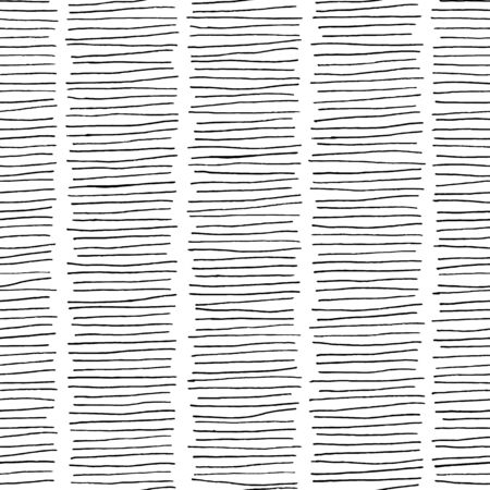 Abstract black white lines seamless pattern. Ink pen hatch strokes, vector hand drawn texture background. Fashion textile print, trendy fabric design, wallpaper decoration, wrapping paper Illusztráció