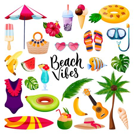 Beach vibes calligraphy lettering, summer travel and tropical design elements set. Vacation holiday icons, isolated on white background. Vector flat cartoon fun cute illustration. Illusztráció