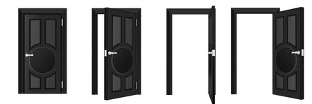 Closed and open classical wooden black door set, isolated on white background. Home entrance and exit, interior architecture design element. Vector flat cartoon illustration