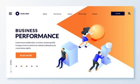 Business performance, leadership race, career and strategy concept. Men and woman characters. Team competition, people moving geometric shapes forward. Vector 3d isometric metaphor illustration