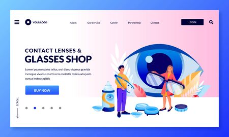 Optics store banner design template. People choose glasses and contact lenses. Vector flat cartoon characters illustration. Eyesight check, vision correction and eye care concept