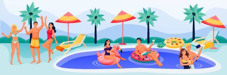 Young happy people have a fun summer vacation at pool party. Vector flat cartoon characters illustration. Men and women in bikini and swimwear dancing and swimming in swimming pool