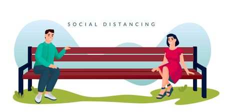 Couple sitting with social distancing on bench in city park. Man and woman spend time outdoor. Vector illustration. New normal distance in public place, romantic meeting and communications concept
