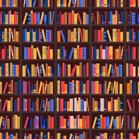 Bookshelf and books seamless pattern. Vector library or bookshop flat background. Bookcase shelves with education literature collection. Bookstore design elements. Illusztráció