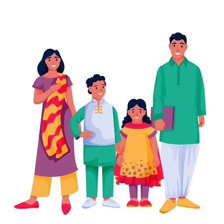Indian happy family with two kids. Father, mother, boy and girl in colorful traditional clothing, isolated on white background. Vector flat cartoon characters illustration