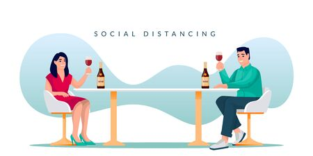 Couple sitting with social distancing in restaurant and drinking wine. Man and woman toasting at the table. Vector illustration. Distance in public place, romantic meeting, safety celebration concept