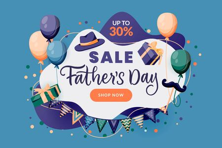 Fathers Day sale horizontal banner, poster, greeting card design template. Abstract frame with holiday decoration and hand drawn calligraphy lettering. Vector illustration. Party invitation background