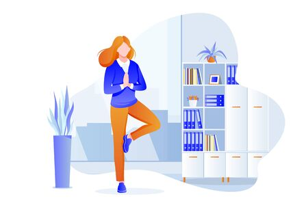 Businesswoman manager stands in tree pose vrksasana. Office yoga 5-minute break. Woman meditating in modern cabinet. Vector character illustration. Healthy lifestyle and relaxing time at work