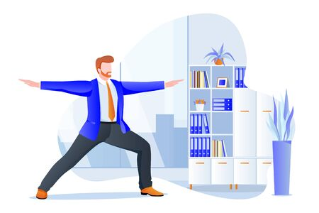 Businessman manager stands in warrior pose virabhadrasana. Office yoga 5-minute break. Man meditating in modern cabinet. Vector character illustration. Healthy lifestyle and relaxing time at work
