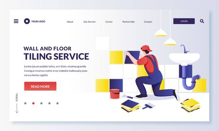 Tiler worker laying multicolor modern tiles on wall. Repairman makes house repair works in bathroom. Vector flat cartoon character illustration. Home repair, decoration and renovation services concept