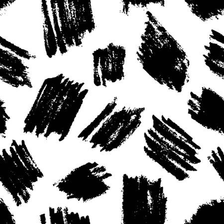 Abstract watercolor brush strokes, blots, stains, vector black white seamless pattern. Dry brush art ink texture background. Hand drawn fabric design, wrapping paper, trendy fashion textile print Ilustração