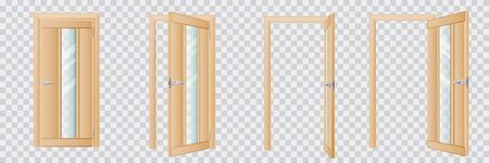 Closed and open classical wooden natural beige interior door set, isolated on transparent background. Modern home or room entrance and exit design element. Vector flat cartoon illustration  イラスト・ベクター素材