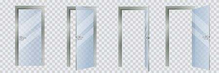 Closed and open glass modern interior door set, isolated on transparent background. Contemporary home or room entrance and exit design element. Vector cartoon illustration  イラスト・ベクター素材