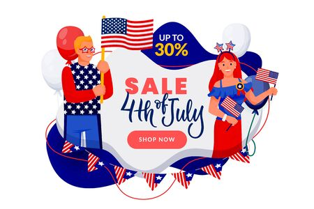 4th of July discount sale banner or poster design template. USA Independence Day celebrating. Vector illustration. Happy people in american flag colors patriotic costumes on abstract white background