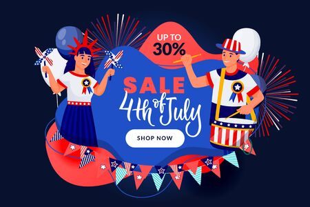 4th of July discount sale banner, poster design template. USA Independence Day celebrating. People in american flag colors patriotic costumes on abstract blue background. Vector holiday illustration  イラスト・ベクター素材